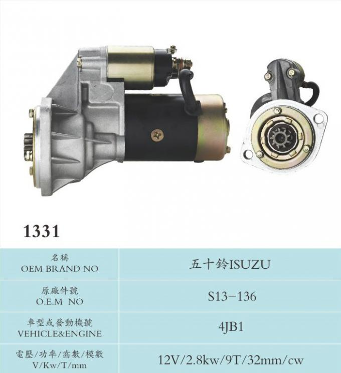 Industrial Truck 12V Hitachi Starter Motor 2.8Kw High Performance Long Lifespan