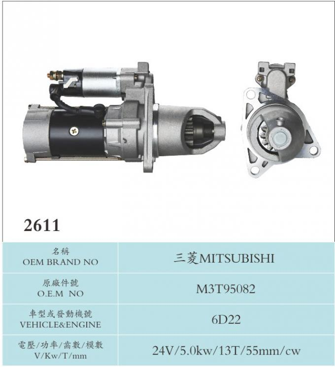 Auto Electrical Parts Mitsubishi Starter Motor M3T95082 Engine 6D22